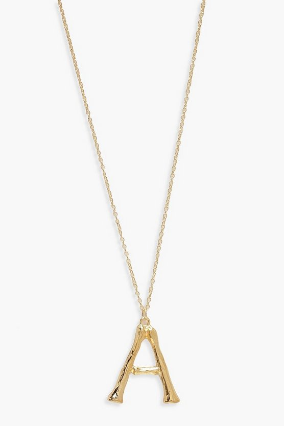 Womens Gold Bamboo A Initial Pendant Necklace