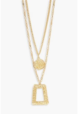 Womens Gold Oversized Textured Layered Necklace