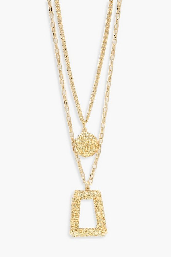 Oversized Textured Layered Necklace, Gold, Donna