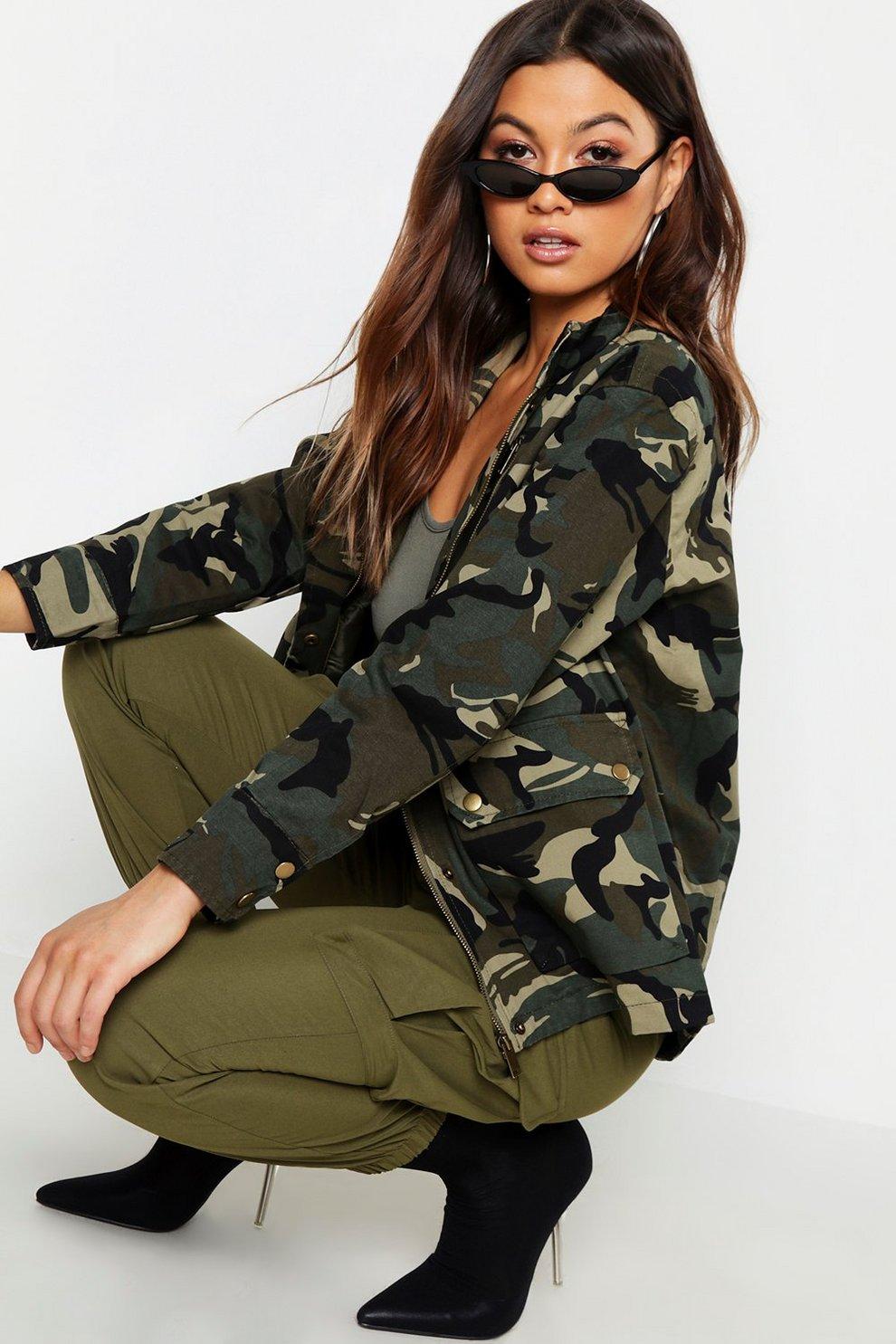 4b566a27d3f8a Womens Khaki Pocket Front Camo Utility Jacket