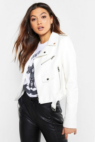Womens White Pu Biker Jacket