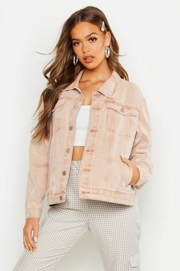 Womens Peach Super Oversize Rigid Denim Jacket