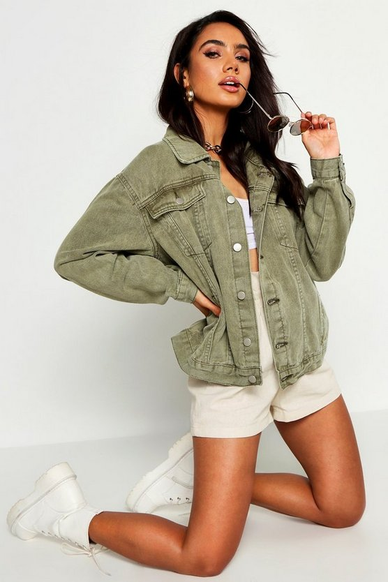 Womens Khaki Super Oversize Rigid Denim Jacket