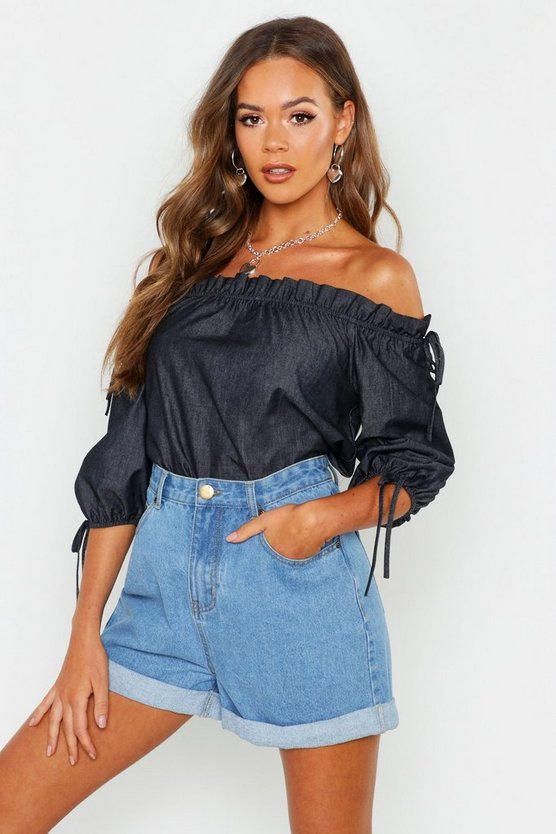 Womens Black Shoulder Detail Tie Chambray Top