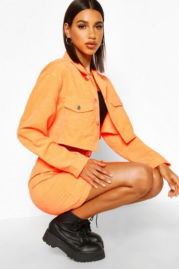 Womens Orange Cropped Neon Cord Jacket