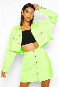 Green Cropped Neon Cord Jacket