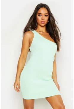 Womens Washed lime Knitted One Shoulder Mini Dress