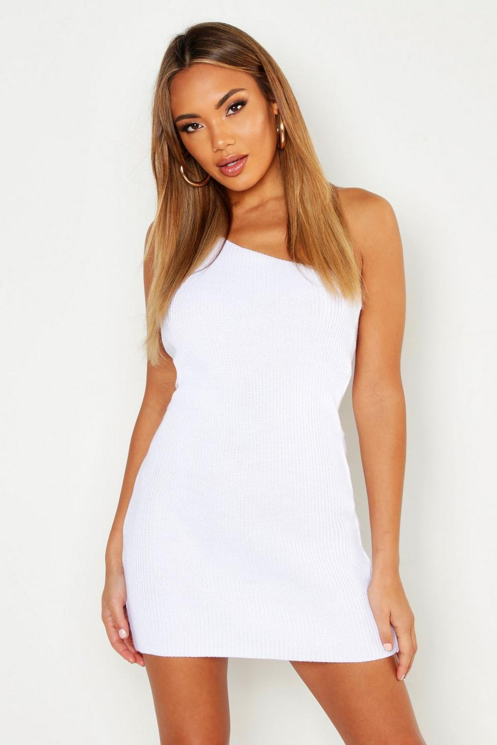 be9b48a345dc Womens White Knitted One Shoulder Mini Dress. Hover to zoom
