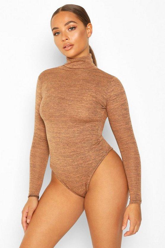 Marl Knit Roll Neck Bodysuit