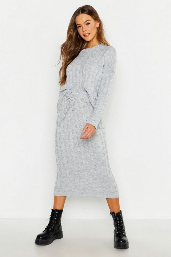 Cable Knit Skirt Co-ord