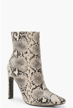 Snake Flat Heel Shoe Boots, Natural, Donna
