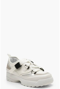 Buckle Strap Chunky Sole Trainers, White, Donna