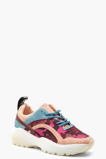 Womens Pink Camo Panel Chunky Sole Trainers