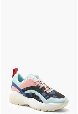 Camo Panel Chunky Sole Trainers, Navy, Donna
