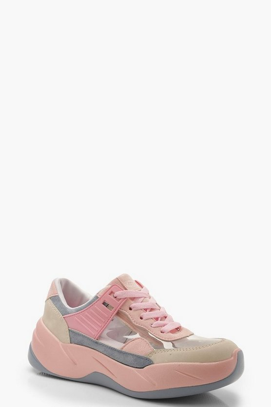 Womens Pink Clear Panel Multi Colour Trainers