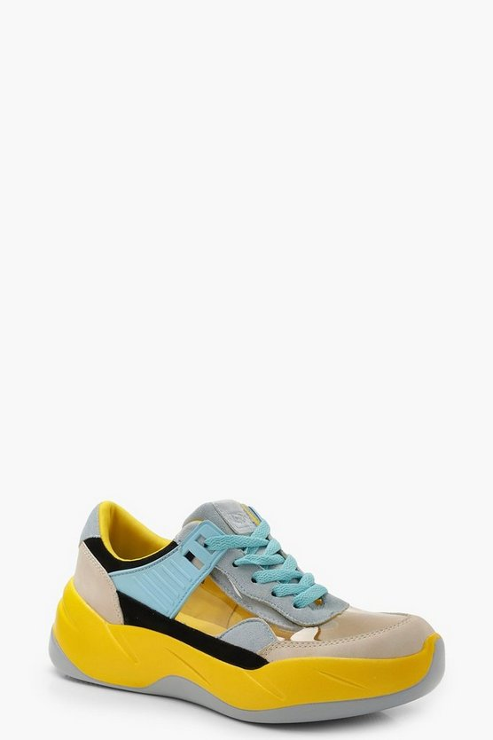 Yellow Clear Panel Multi Colour Trainers