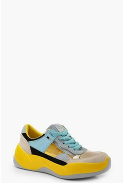 Clear Panel Multi Colour Trainers, Yellow, Donna