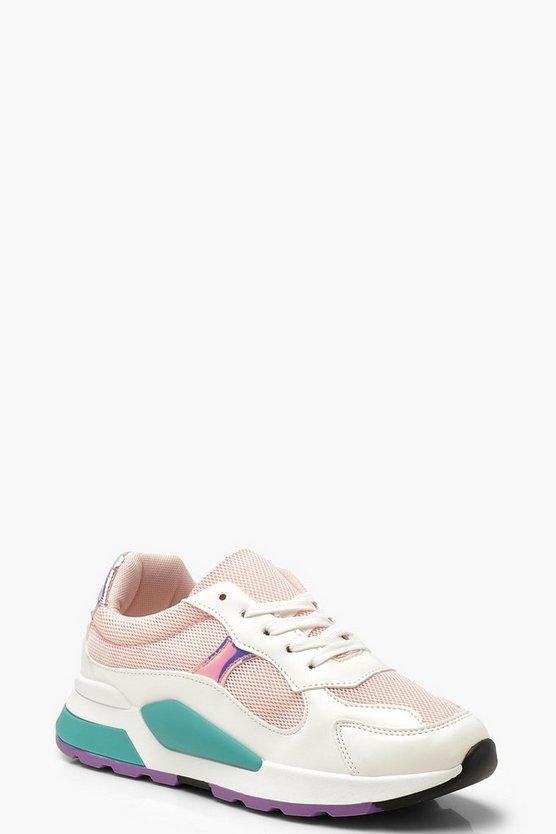 Womens Pink Sporty Colour Pop Sneakers