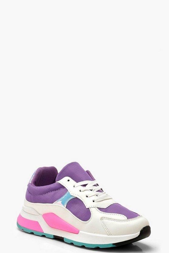 Womens Purple Sporty Colour Pop Sneakers