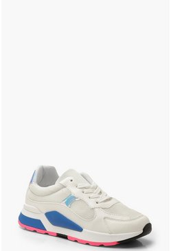 Sporty Colour Pop Trainers, White, Donna
