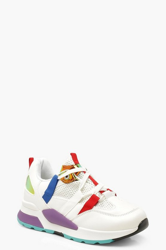 Womens White Chunky Colour Pop Sneakers