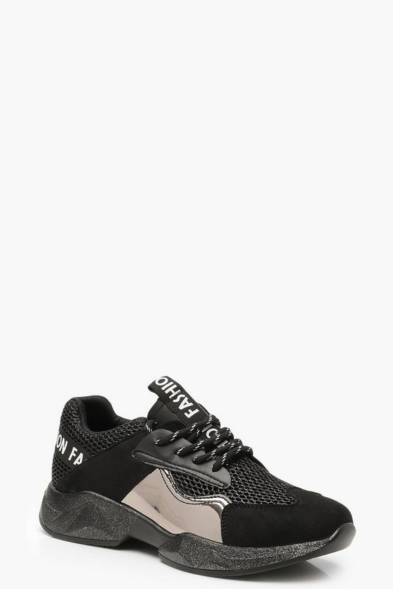 Womens Black Tonal Metallic Panel Sneakers
