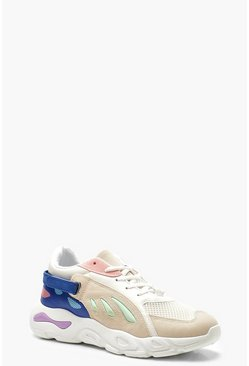 Velcro Strap Colour Block Trainers, Blue, Donna