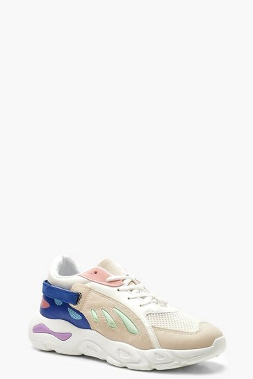 Womens Blue Velcro Strap Colour Block Trainers