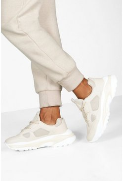 Dam Ecru Chunky Sole Lace Up Trainers
