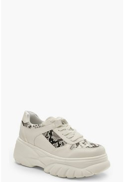 Snake Panel Chunky Platform Trainers, White, Donna