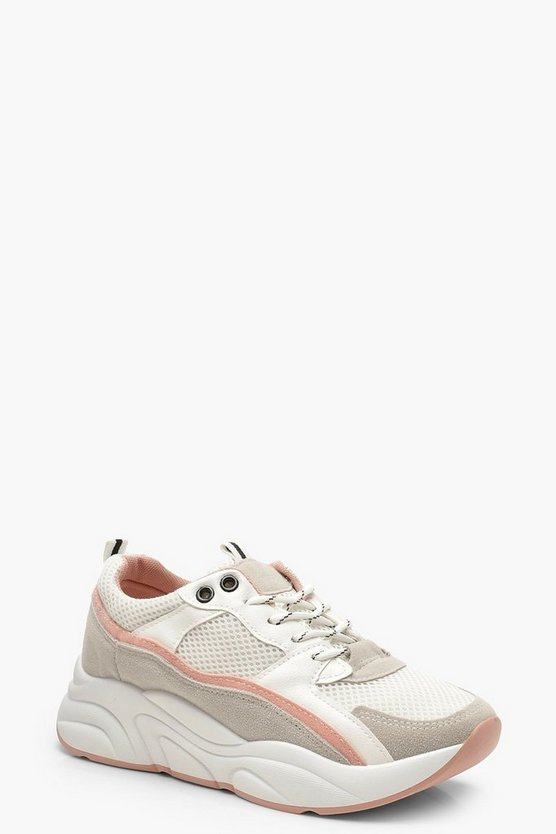 Womens White Contrast Strip Chunky Sole Trainers