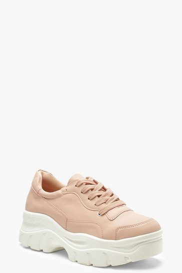 Womens Blush Chunky Sole Lace Up Hiker Trainers