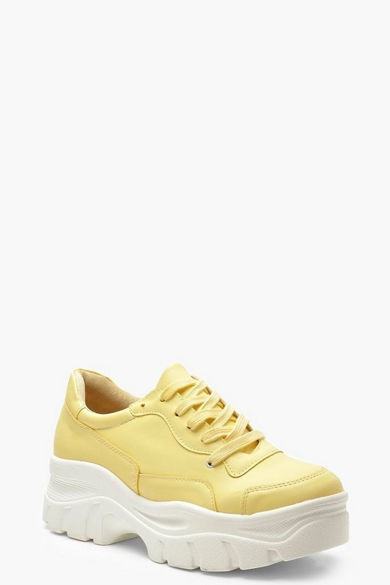 Womens Lemon Chunky Sole Lace Up Hiker Sneakers