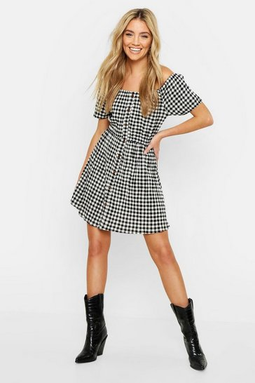 Womens Off The Shoulder Gingham Button Skater Dress