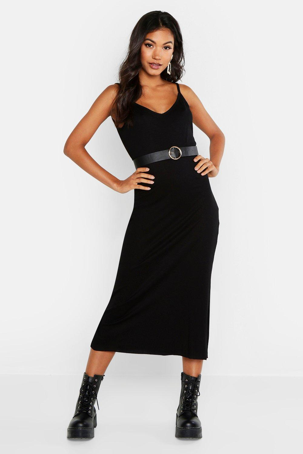 V Neck Strappy Rib Midaxi Dress