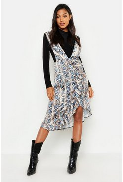 Womens Blue Python Plunge Front Ruffle Pinafore Dress
