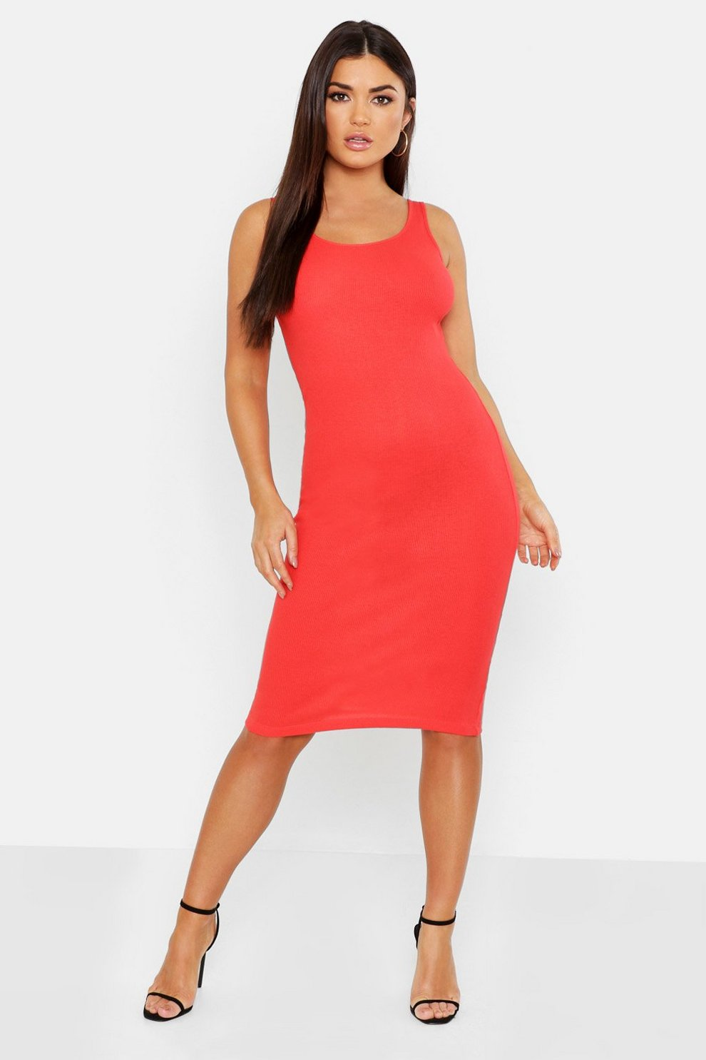 06033c6764 Rib Scoop Neck Midi Dress. Womens Red Rib Scoop Neck Midi Dress. Hover to  zoom