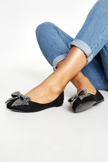 Womens Black Ballet Pumps With Bow