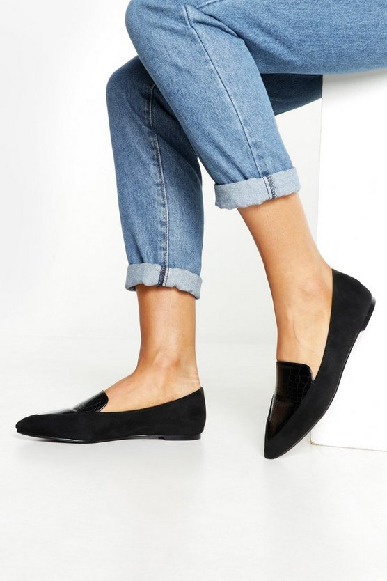 Womens Black Croc Panel Pointed Flats