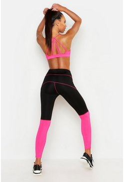 Womens Hot pink Fit Colour Block Leggings