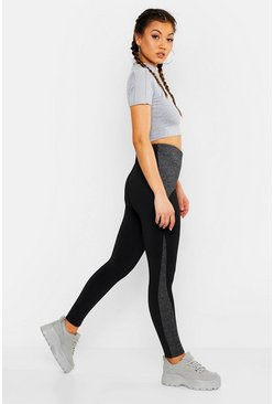 Black Fit Curve Panel Contrast Gym Leggings