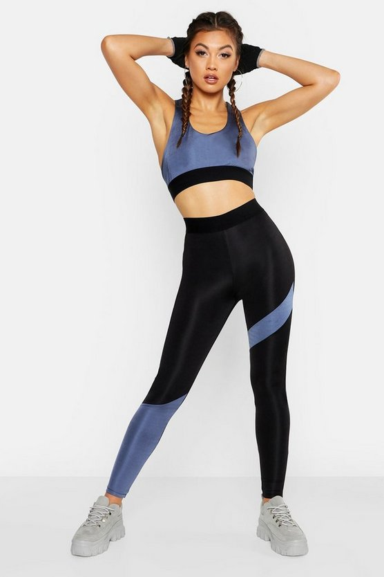 Womens Black Fit Metallic Stripe Gym Leggings