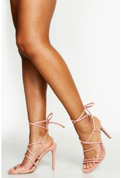 Womens Blush Multi Strap Wrap Tie Heeled Sandals
