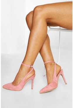 Womens Pink Wrap Ankle Pointed Courts