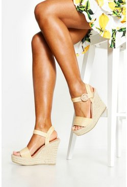 Womens Tan Straw Strap Espadrille Wedges