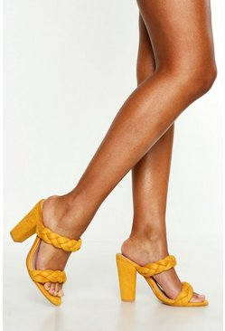 Womens Mustard Plait Double Strap Mules