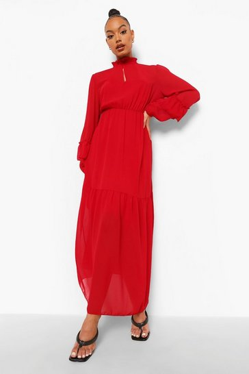Womens Red High Neck Frill Sleeve Maxi Dress