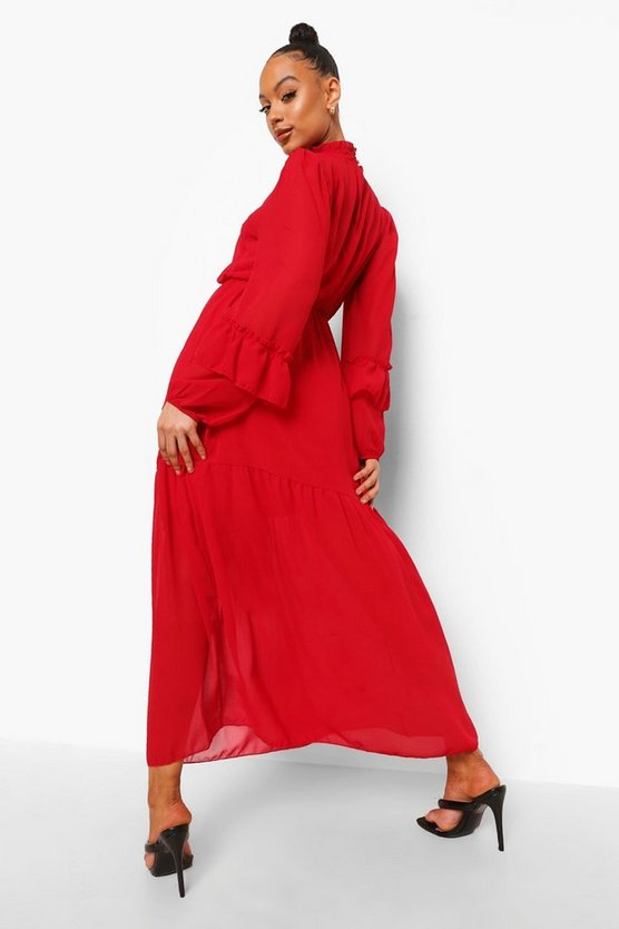 High Neck Frill Sleeve Maxi Dress