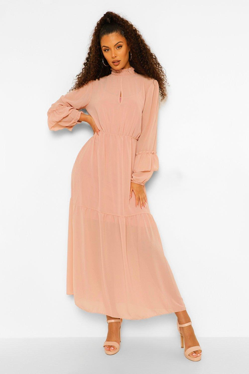 70s Prom, Formal, Evening, Party Dresses Womens High Neck Frill Sleeve Maxi Dress - Pink - 10 $24.00 AT vintagedancer.com