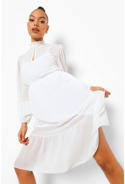 High Neck Frill Sleeve Maxi Dress, White, Donna